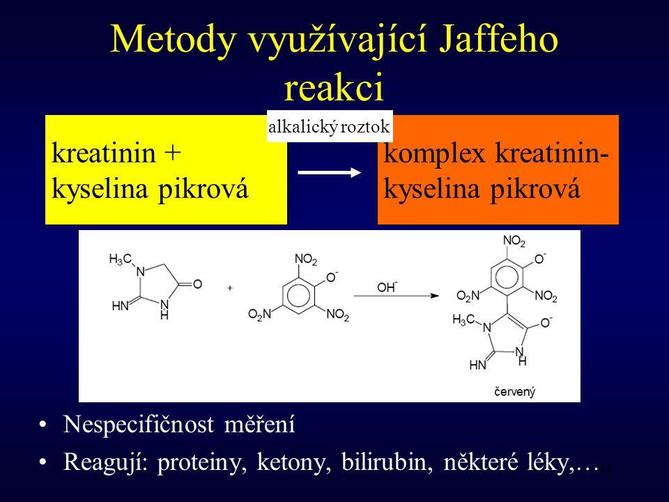 31 Metody využívající Jaffeho reakci Nespecifičnost měření Reagují: proteiny, ketony, bilirubin, některé léky,… kreatinin + kyselina pikrová komplex kreatinin- kyselina pikrová alkalický roztok
