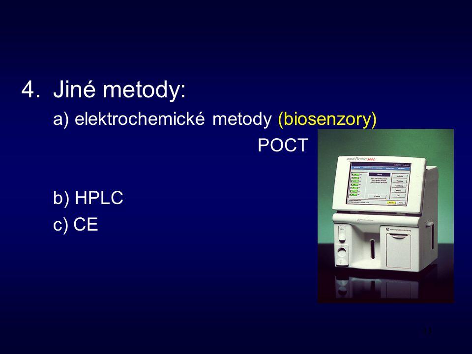 33 4.Jiné metody: a) elektrochemické metody (biosenzory) POCT b) HPLC c) CE