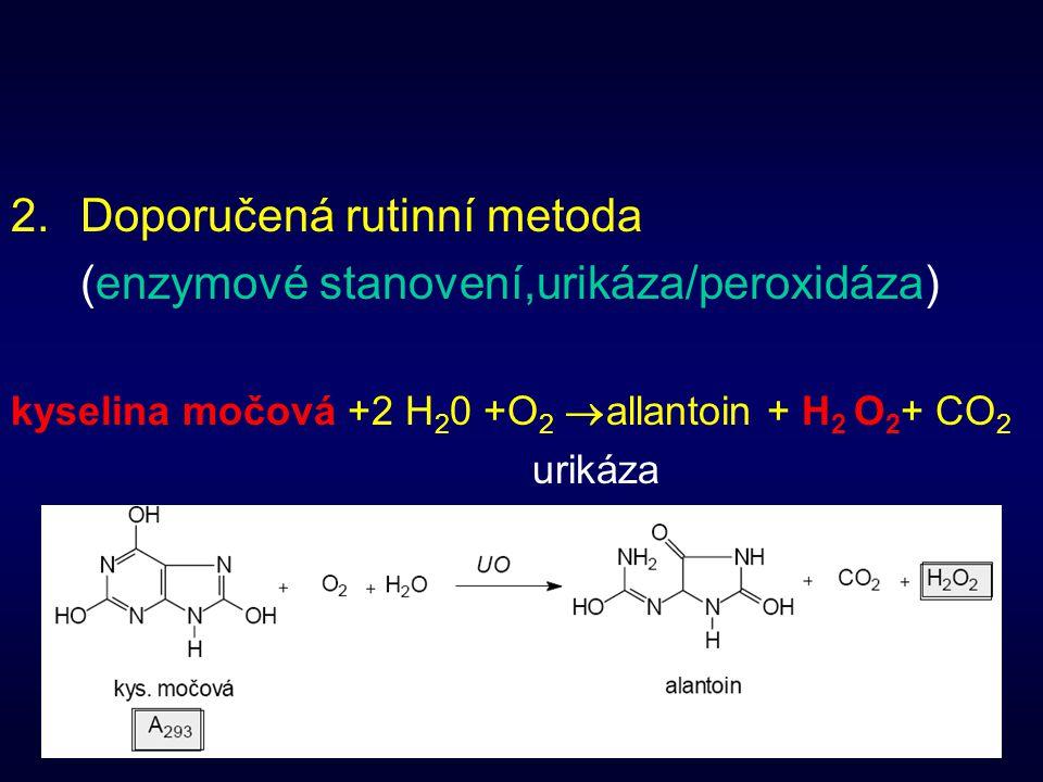 38 2.Doporučená rutinní metoda (enzymové stanovení,urikáza/peroxidáza) kyselina močová +2 H 2 0 +O 2  allantoin + H 2 O 2 + CO 2 urikáza