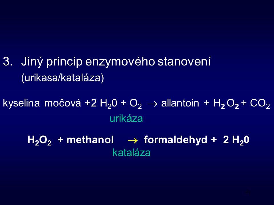 40 3.Jiný princip enzymového stanovení (urikasa/kataláza) kyselina močová +2 H 2 0 + O 2  allantoin + H 2 O 2 + CO 2 urikáza H 2 O 2 + methanol  formaldehyd + 2 H 2 0 kataláza