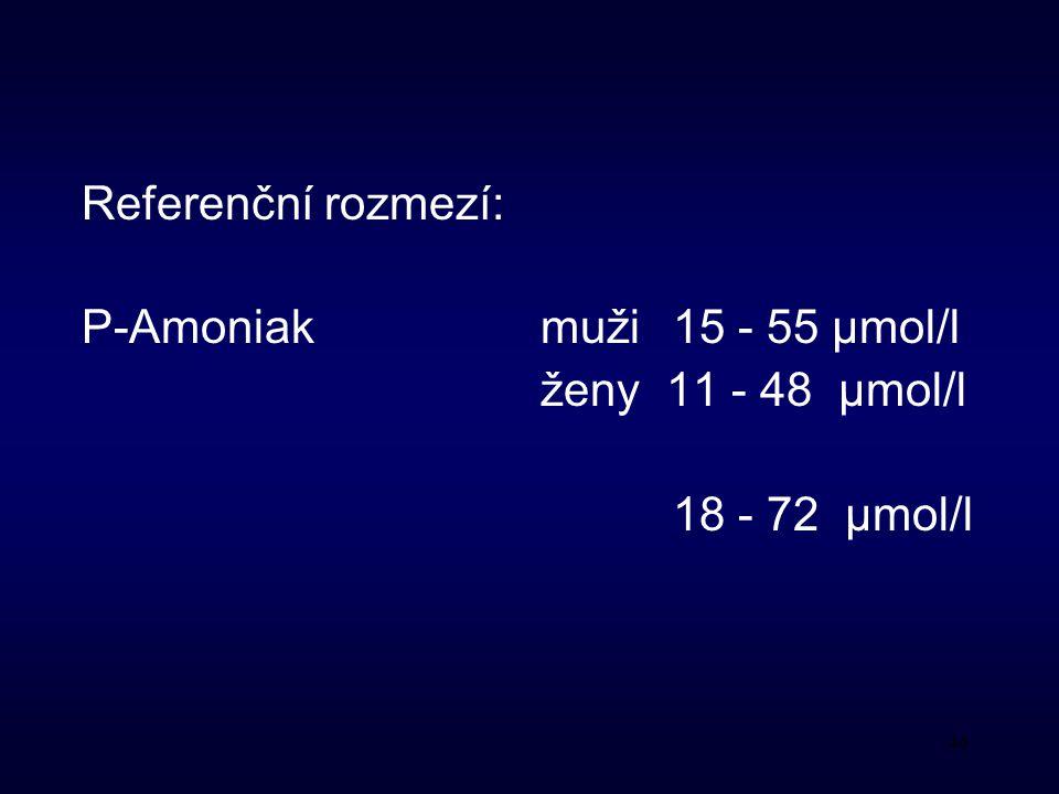 46 Referenční rozmezí: P-Amoniak muži 15 - 55 μmol/l ženy 11 - 48 μmol/l 18 - 72 μmol/l