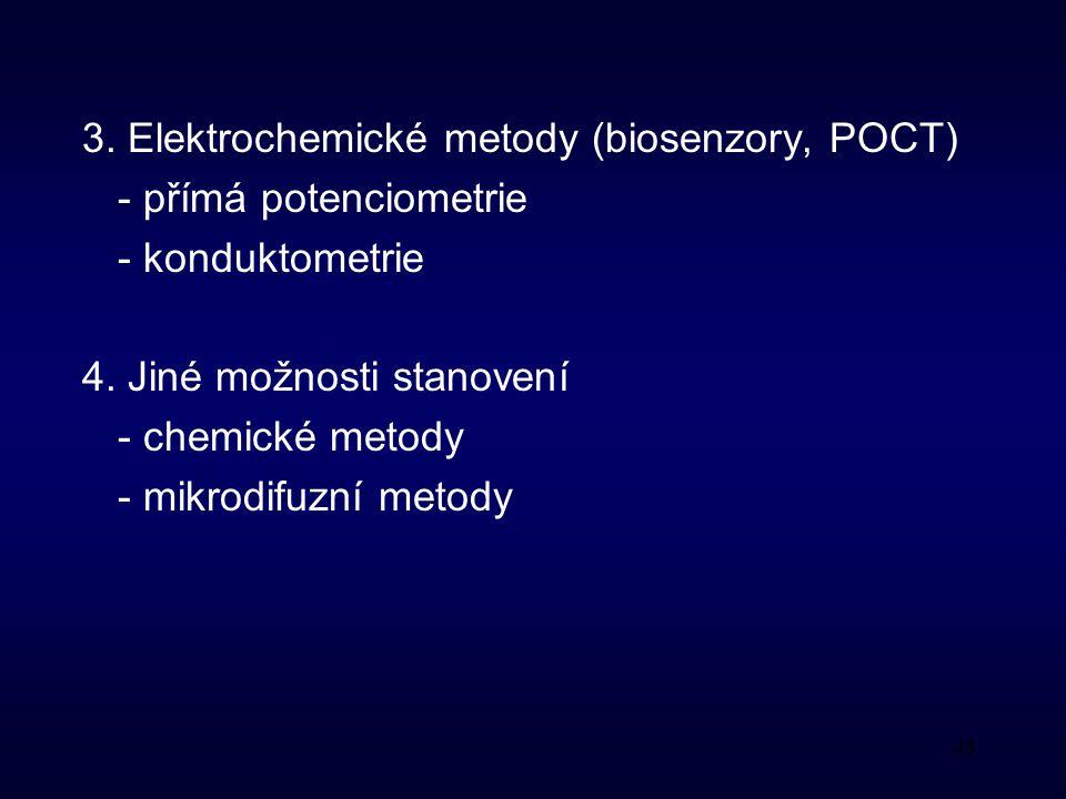48 3.Elektrochemické metody (biosenzory, POCT) - přímá potenciometrie - konduktometrie 4.