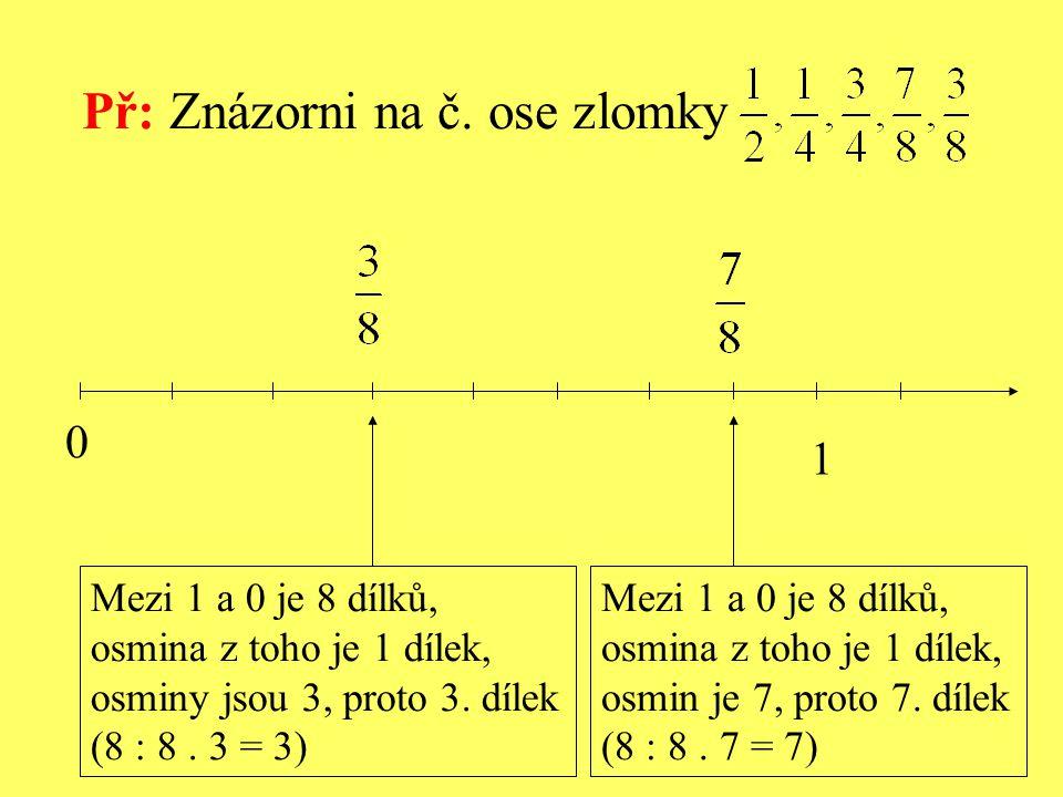 0 1 Mezi 1 a 0 je 8 dílků, osmina z toho je 1 dílek, osmin je 7, proto 7. dílek (8 : 8. 7 = 7) Př: Znázorni na č. ose zlomky Mezi 1 a 0 je 8 dílků, os