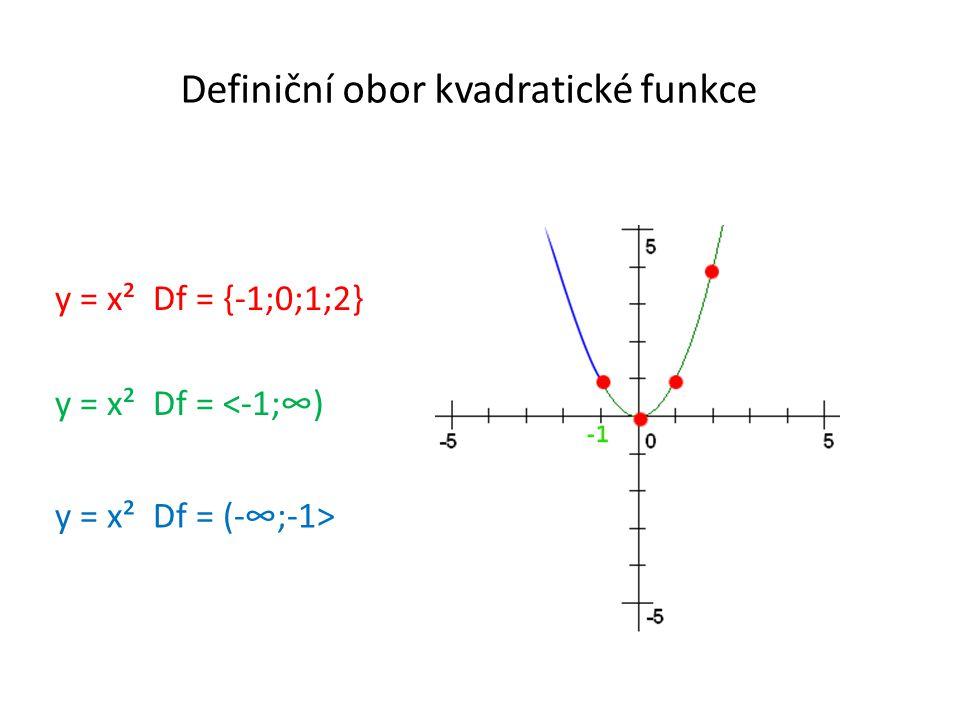 Definiční obor kvadratické funkce y = x² Df = <-1;∞) y = x² Df = {-1;0;1;2} y = x² Df = (-∞;-1>