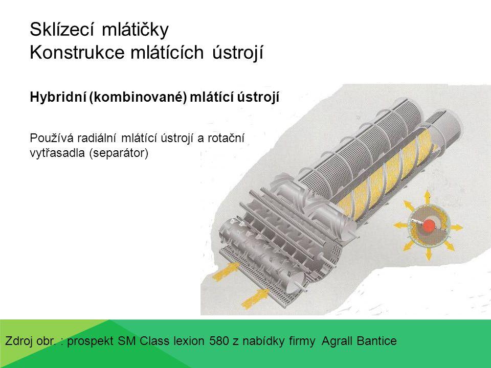 Sklízecí mlátičky Konstrukce mlátících ústrojí Hybridní (kombinované) mlátící ústrojí Používá radiální mlátící ústrojí a rotační vytřasadla (separátor) Zdroj obr.