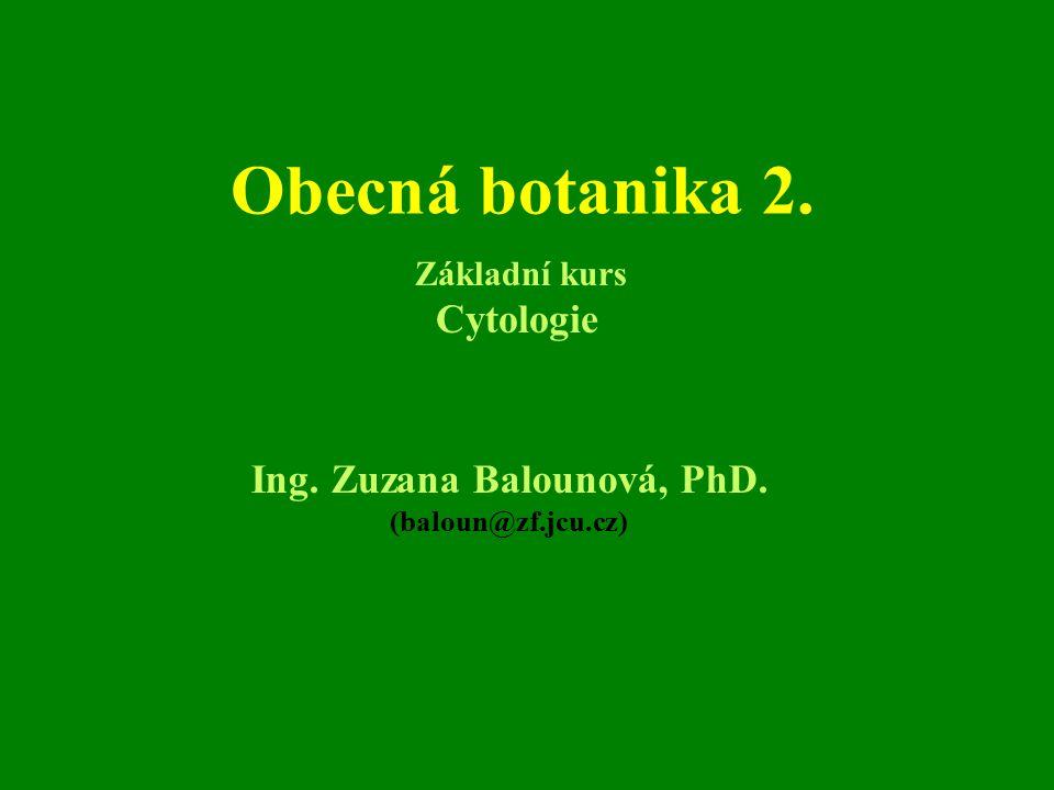 Obecná botanika 2. Ing. Zuzana Balounová, PhD. (baloun@zf.jcu.cz) Základní kurs Cytologie