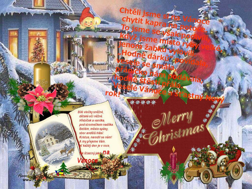 Dárky ať se sypou z nebe, každý z nich ať je pro tebe, ať zaplaví tě pocit štěstí, o Vánocích ať máš sen hezký, neomezuj se, užívej svátky, za rok bud