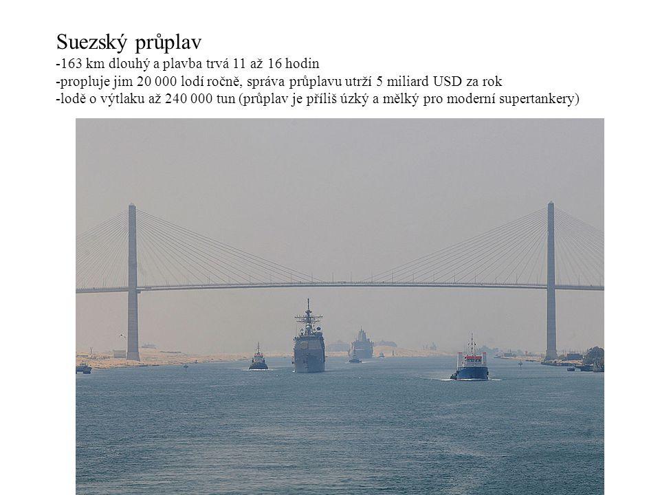 Suezský průplav -163 km dlouhý a plavba trvá 11 až 16 hodin -propluje jim 20 000 lodí ročně, správa průplavu utrží 5 miliard USD za rok -lodě o výtlaku až 240 000 tun (průplav je příliš úzký a mělký pro moderní supertankery)
