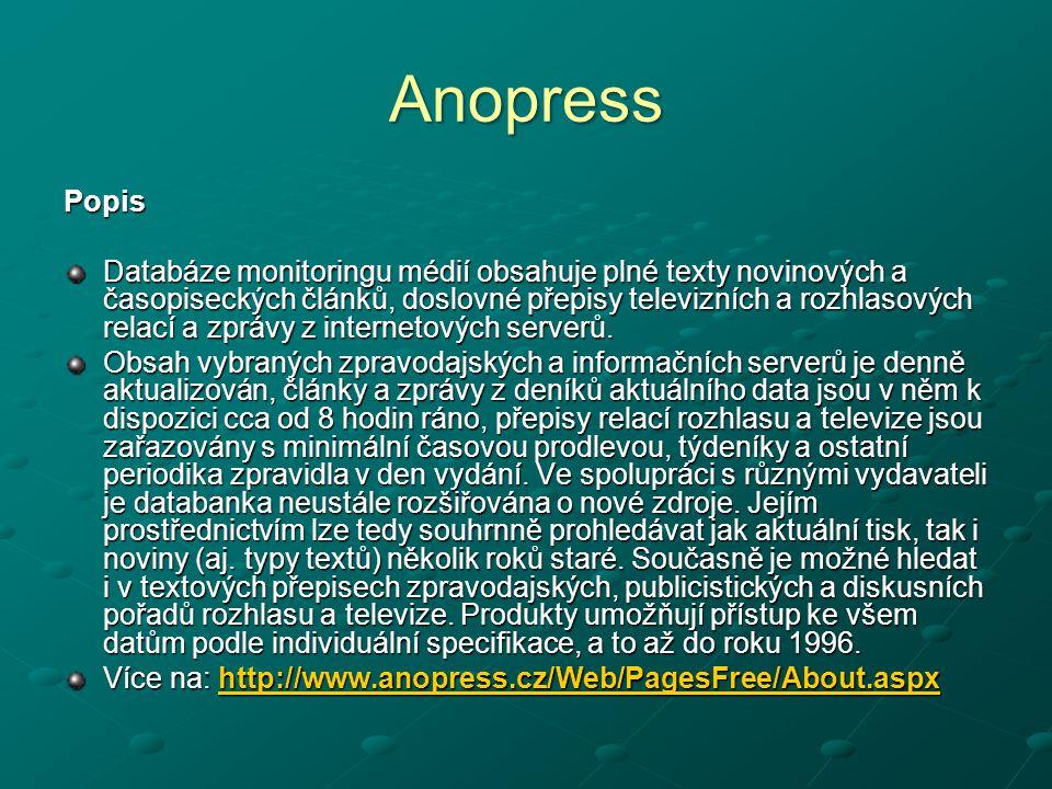 Anopress Popis Databáze monitoringu médií obsahuje plné texty novinových a časopiseckých článků, doslovné přepisy televizních a rozhlasových relací a