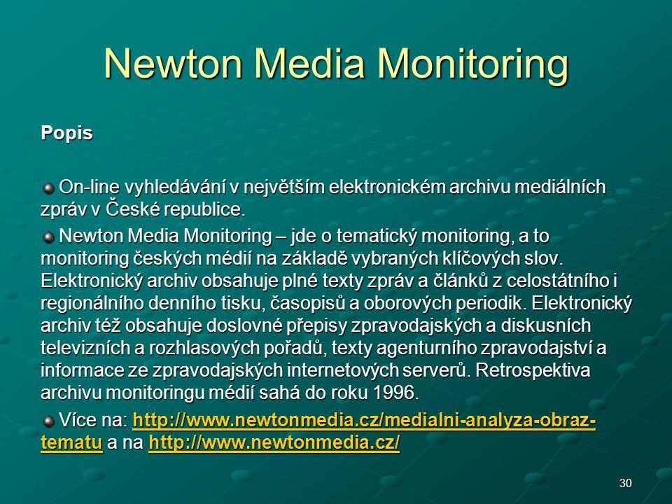 Newton Media Monitoring Popis On-line vyhledávání v největším elektronickém archivu mediálních zpráv v České republice. On-line vyhledávání v největší