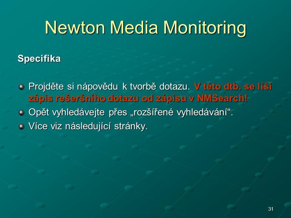 Newton Media Monitoring Specifika Projděte si nápovědu k tvorbě dotazu. V této dtb. se liší zápis rešeršního dotazu od zápisu v NMSearch! Opět vyhledá