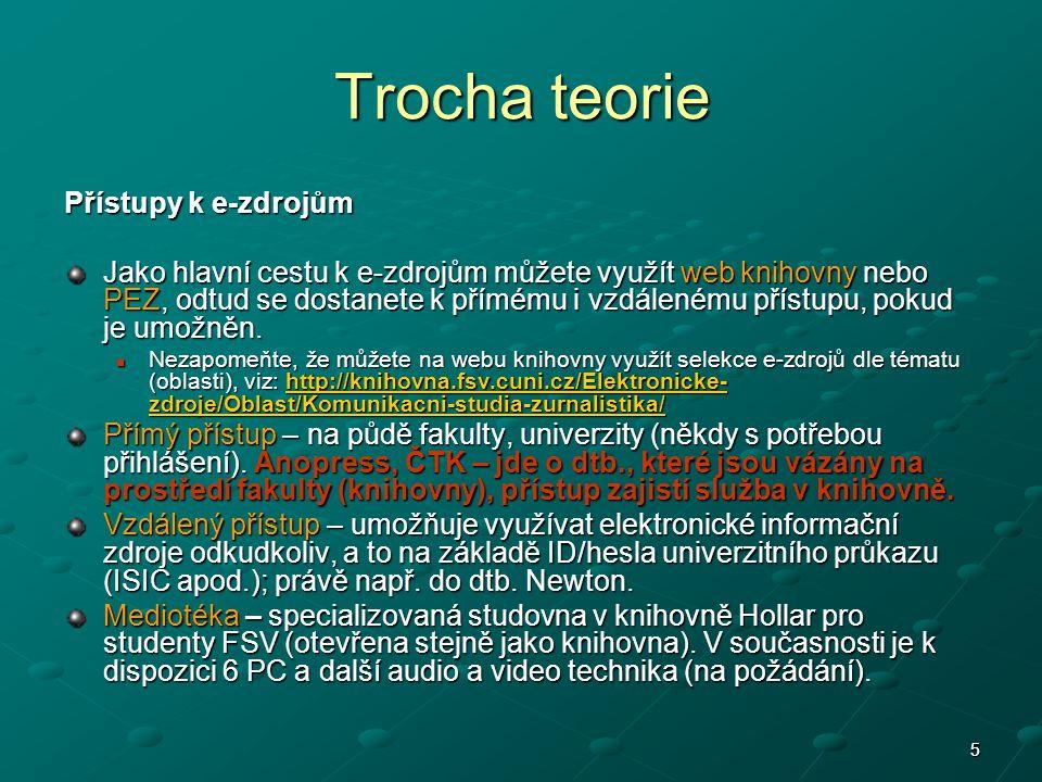 6 Trocha teorie Uvědomte si v průběhu práce s databázemi jejich rozdíly a shody: v dostupnosti pro uživatele (přímý, vzdálený přístup) v dostupnosti pro uživatele (přímý, vzdálený přístup) v dostupnosti subdatabází a otevřenosti archivu (ne všechny pododdíly jednoho e-zdroje jsou Vám dostupné, stejně tak nemusí být dostupný celý archiv – tzv.