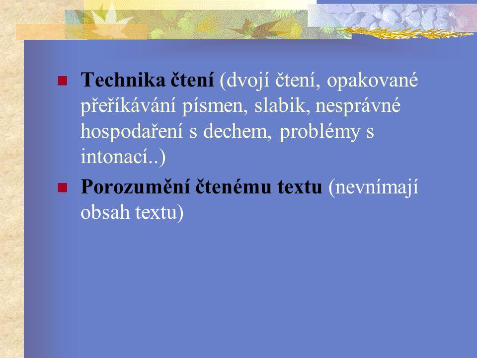 Technika čtení (dvojí čtení, opakované přeříkávání písmen, slabik, nesprávné hospodaření s dechem, problémy s intonací..) Porozumění čtenému textu (nevnímají obsah textu)