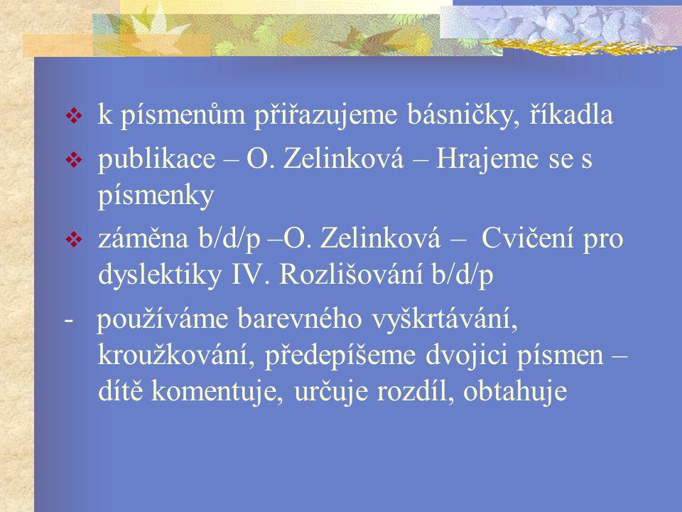  k písmenům přiřazujeme básničky, říkadla  publikace – O.