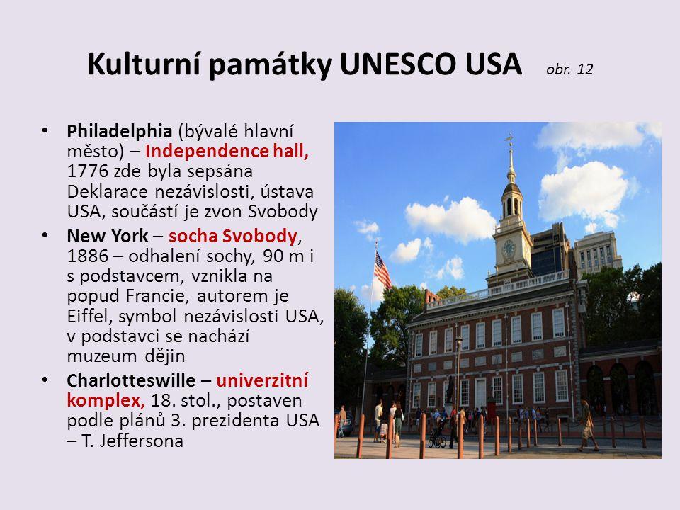 Kulturní památky UNESCO USA obr. 12 Philadelphia (bývalé hlavní město) – Independence hall, 1776 zde byla sepsána Deklarace nezávislosti, ústava USA,
