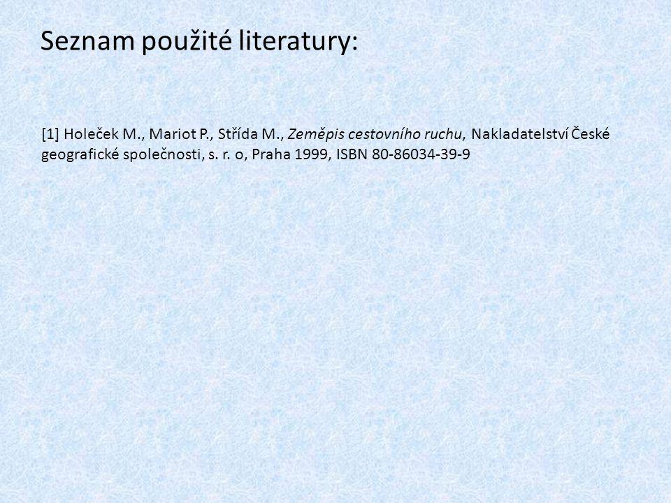 Seznam použité literatury: [1] Holeček M., Mariot P., Střída M., Zeměpis cestovního ruchu, Nakladatelství České geografické společnosti, s. r. o, Prah