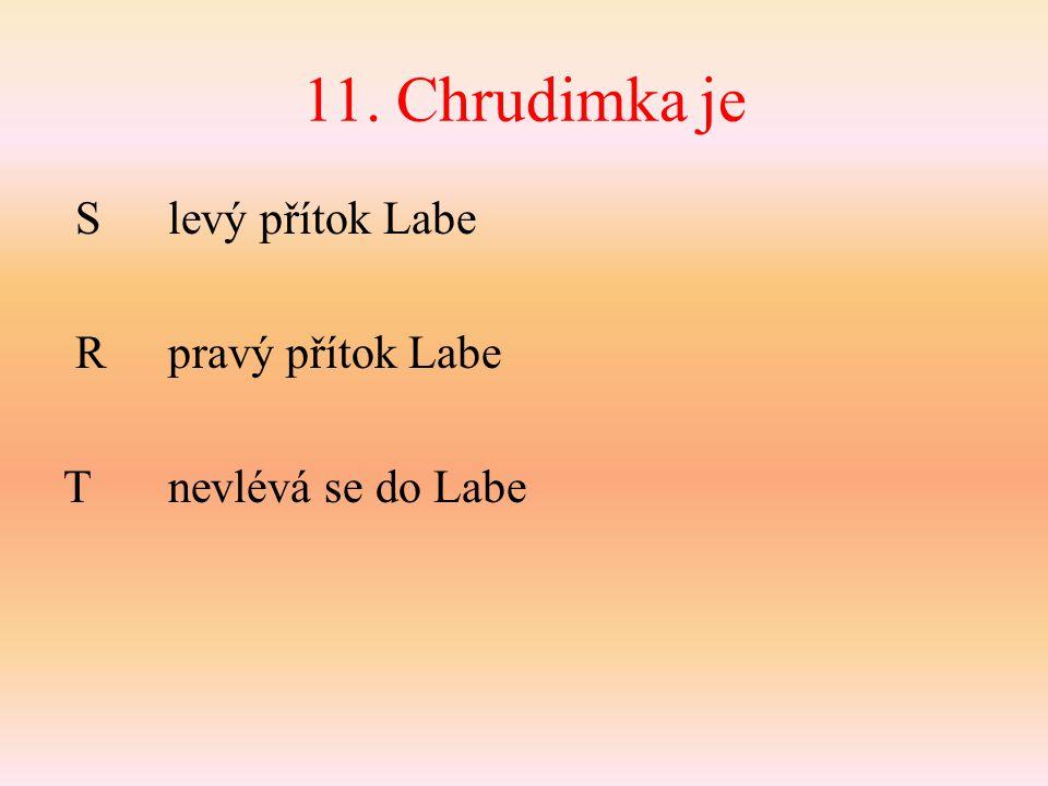 11. Chrudimka je S levý přítok Labe Rpravý přítok Labe Tnevlévá se do Labe