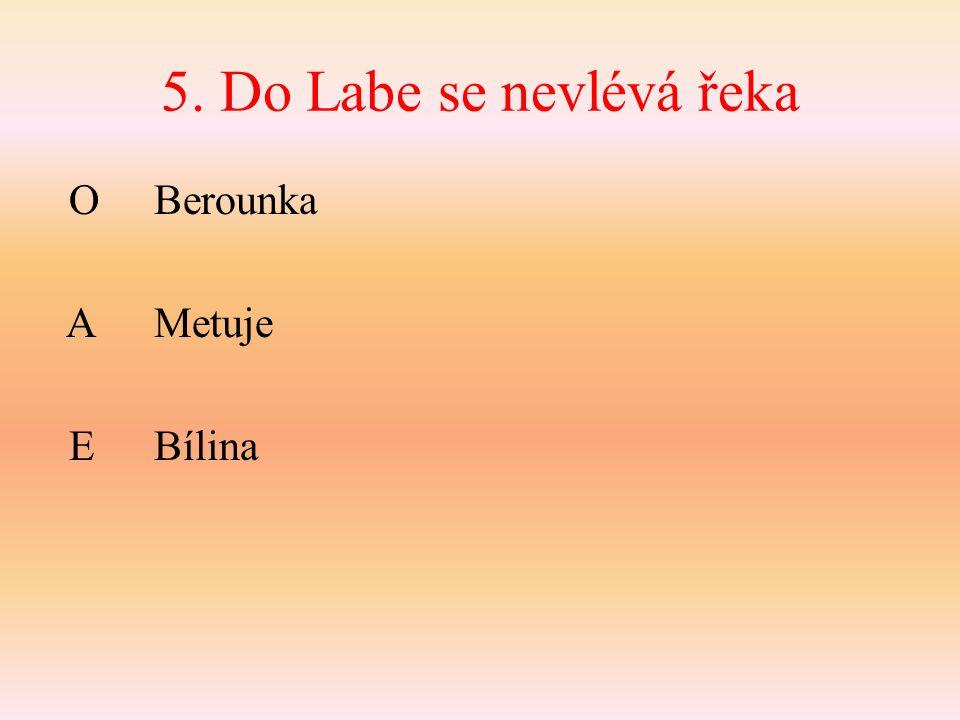 5. Do Labe se nevlévá řeka O Berounka AMetuje EBílina