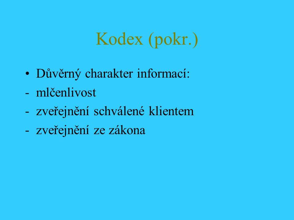 Kodex (pokr.) Důvěrný charakter informací: -mlčenlivost -zveřejnění schválené klientem -zveřejnění ze zákona