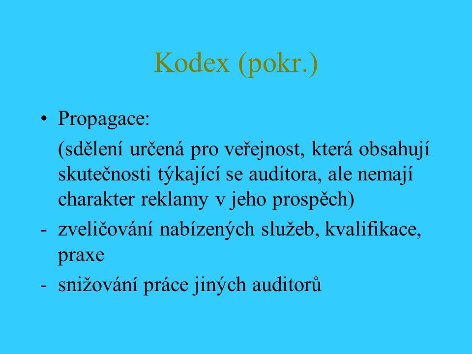 Kodex (pokr.) Propagace: (sdělení určená pro veřejnost, která obsahují skutečnosti týkající se auditora, ale nemají charakter reklamy v jeho prospěch)