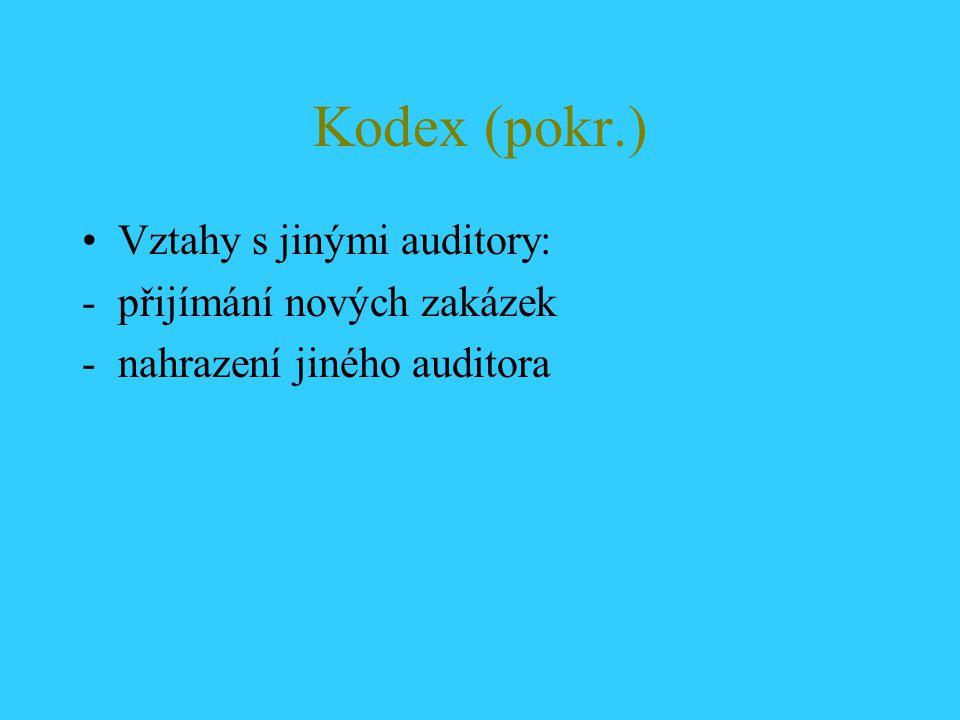 Kodex (pokr.) Vztahy s jinými auditory: -přijímání nových zakázek -nahrazení jiného auditora