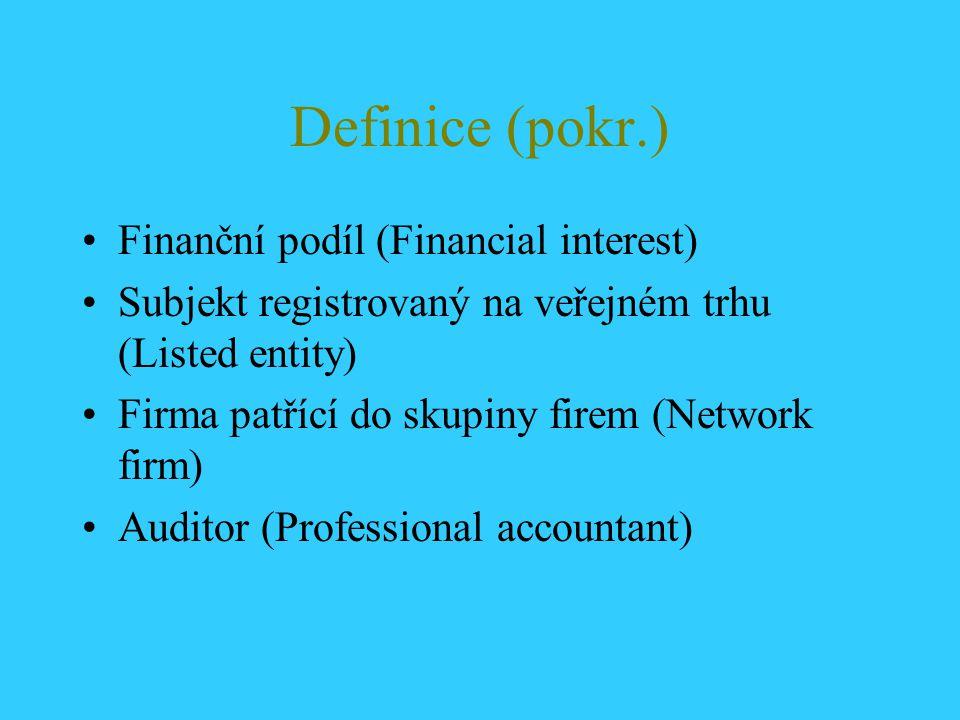 Definice (pokr.) Finanční podíl (Financial interest) Subjekt registrovaný na veřejném trhu (Listed entity) Firma patřící do skupiny firem (Network fir