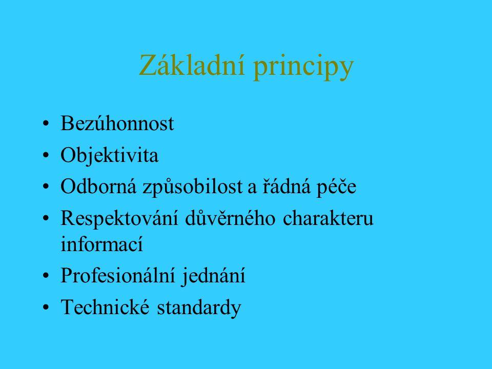 Základní principy Bezúhonnost Objektivita Odborná způsobilost a řádná péče Respektování důvěrného charakteru informací Profesionální jednání Technické