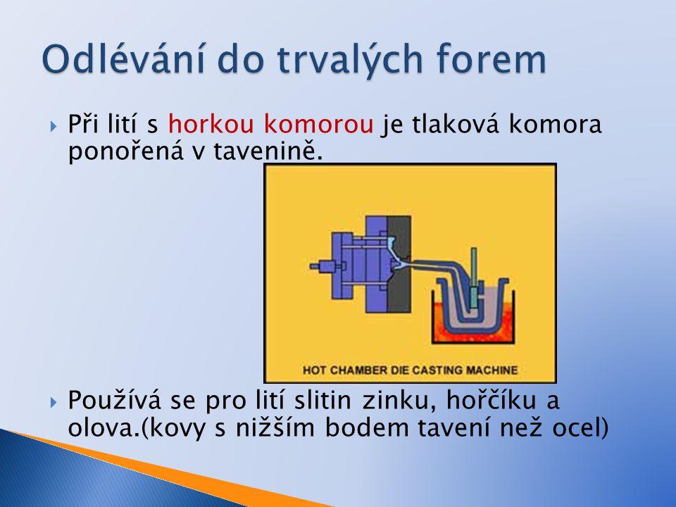  Při lití s horkou komorou je tlaková komora ponořená v tavenině.