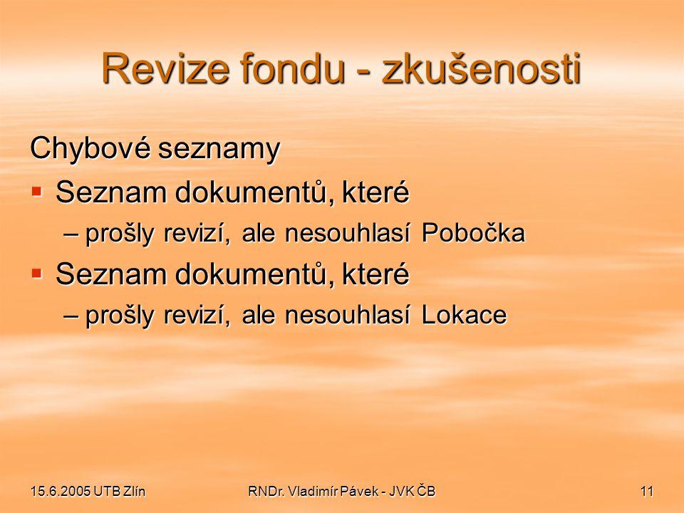 15.6.2005 UTB ZlínRNDr. Vladimír Pávek - JVK ČB11 Revize fondu - zkušenosti Chybové seznamy  Seznam dokumentů, které –prošly revizí, ale nesouhlasí P