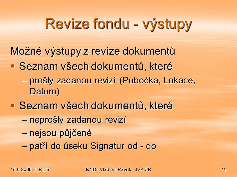 15.6.2005 UTB ZlínRNDr. Vladimír Pávek - JVK ČB12 Revize fondu - výstupy Možné výstupy z revize dokumentů  Seznam všech dokumentů, které –prošly zada