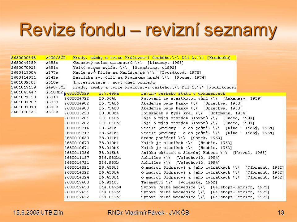 15.6.2005 UTB ZlínRNDr. Vladimír Pávek - JVK ČB13 Revize fondu – revizní seznamy