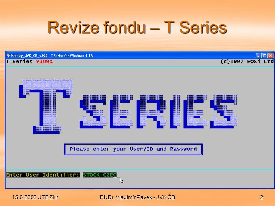15.6.2005 UTB ZlínRNDr. Vladimír Pávek - JVK ČB3 Revize fondu – menu