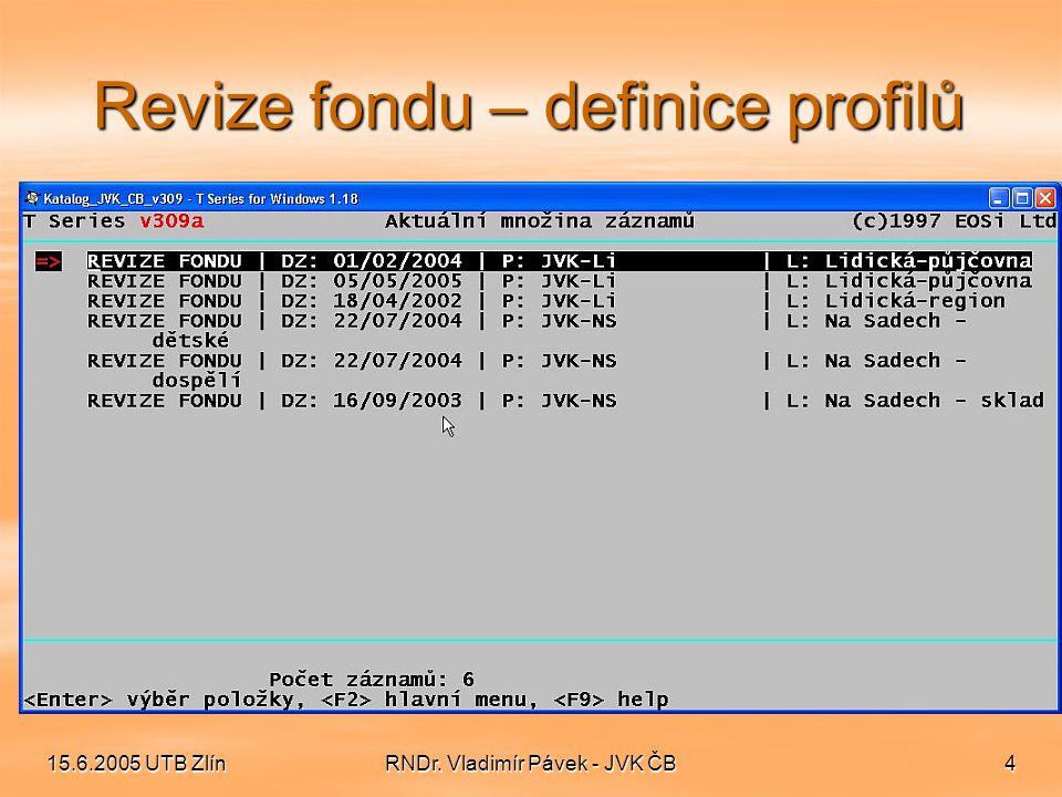 15.6.2005 UTB ZlínRNDr. Vladimír Pávek - JVK ČB5 Revize fondu – podrobnosti