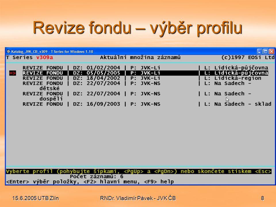 15.6.2005 UTB ZlínRNDr. Vladimír Pávek - JVK ČB8 Revize fondu – výběr profilu