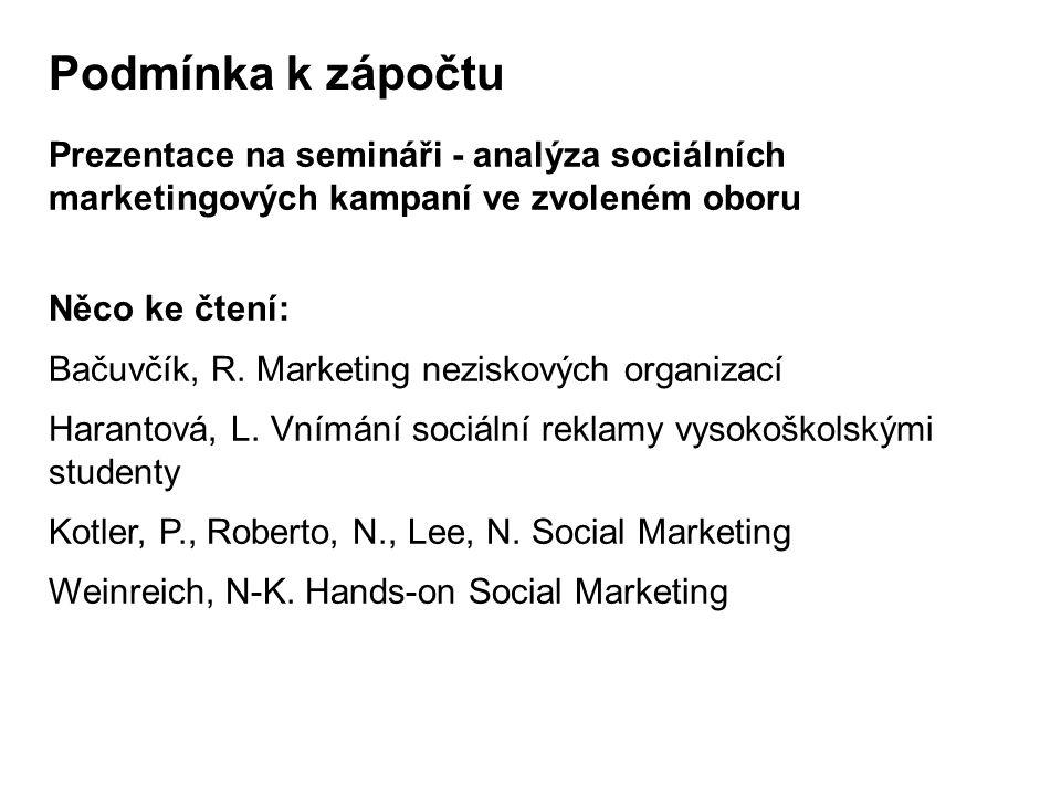 Podmínka k zápočtu Prezentace na semináři - analýza sociálních marketingových kampaní ve zvoleném oboru Něco ke čtení: Bačuvčík, R.
