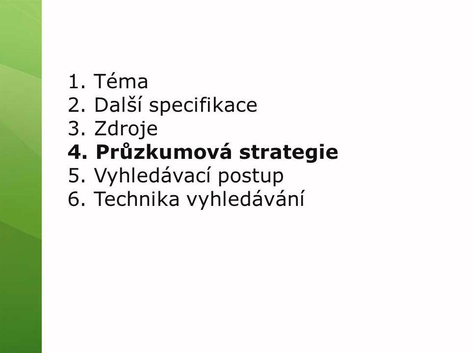 1. Téma 2. Další specifikace 3. Zdroje 4. Průzkumová strategie 5.