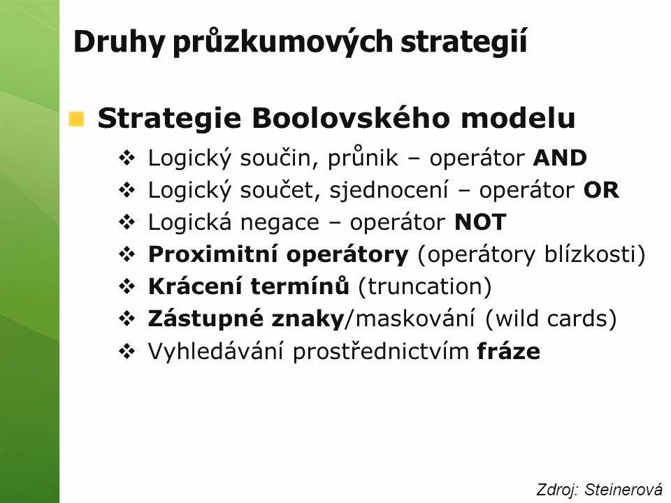 Druhy průzkumových strategií Strategie Boolovského modelu  Logický součin, průnik – operátor AND  Logický součet, sjednocení – operátor OR  Logická negace – operátor NOT  Proximitní operátory (operátory blízkosti)  Krácení termínů (truncation)  Zástupné znaky/maskování (wild cards)  Vyhledávání prostřednictvím fráze Zdroj: Steinerová