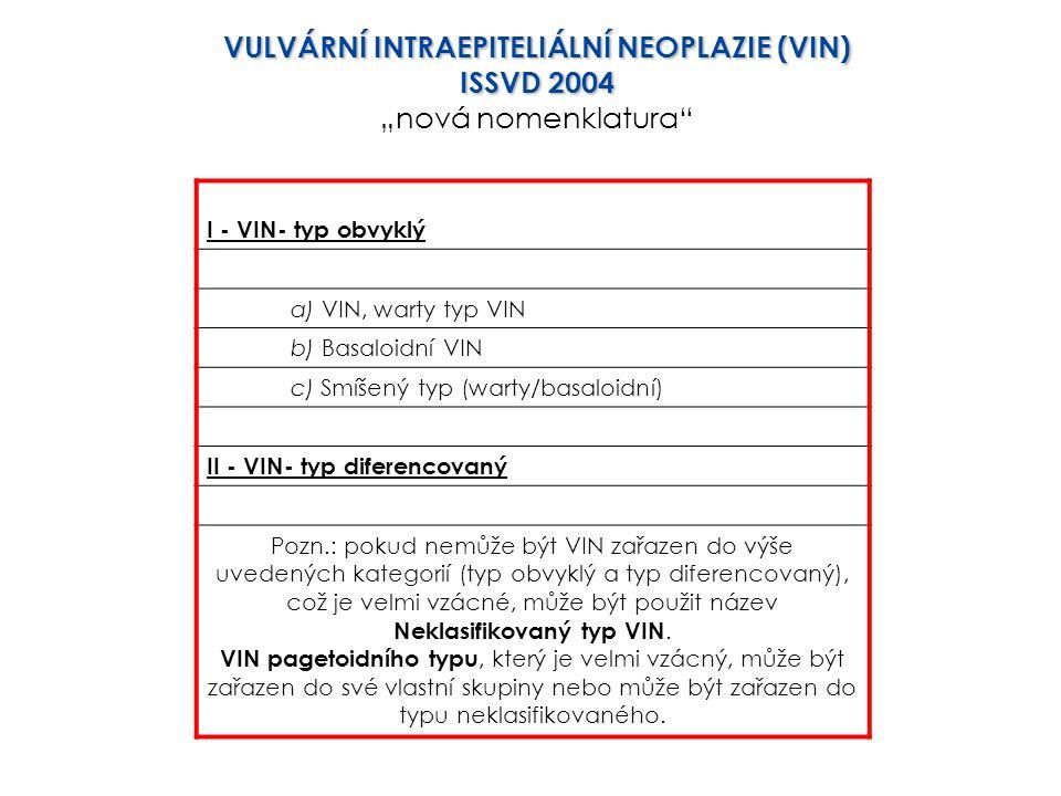 I - VIN- typ obvyklý a) VIN, warty typ VIN b) Basaloidní VIN c) Smíšený typ (warty/basaloidní) II - VIN- typ diferencovaný Pozn.: pokud nemůže být VIN