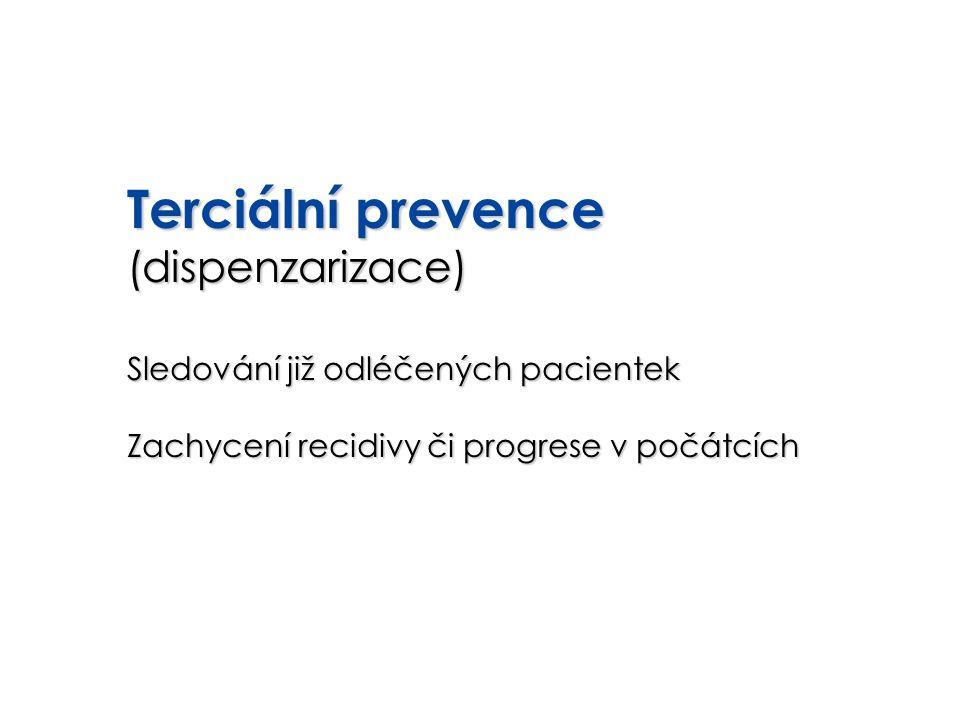 Terciální prevence (dispenzarizace) Sledování již odléčených pacientek Zachycení recidivy či progrese v počátcích