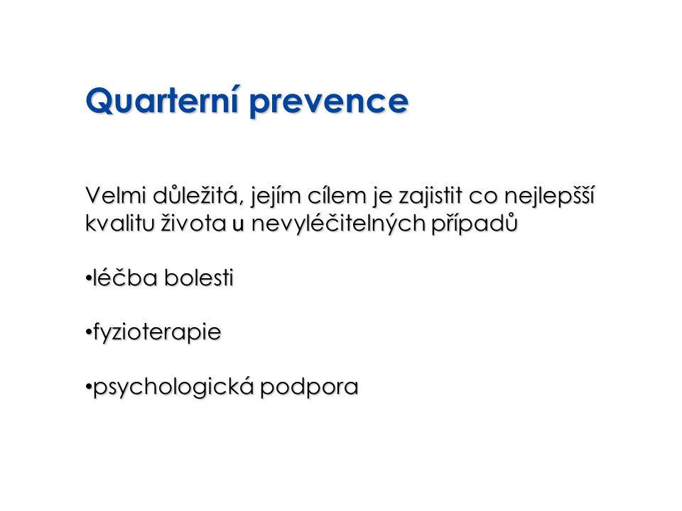 Quarterní prevence Velmi důležitá, jejím cílem je zajistit co nejlepšší kvalitu života u nevyléčitelných případů léčba bolesti léčba bolesti fyziotera