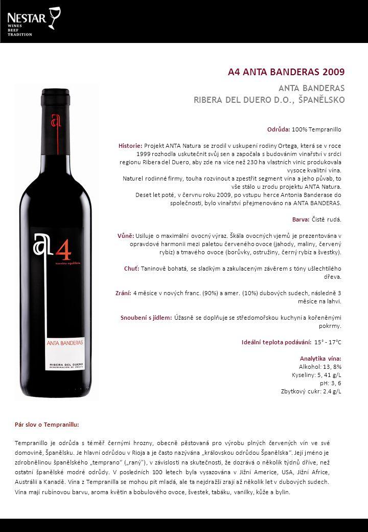 Odrůda: 100% Tempranillo Historie: Projekt ANTA Natura se zrodil v uskupení rodiny Ortega, která se v roce 1999 rozhodla uskutečnit svůj sen a započala s budováním vinařství v srdci regionu Ribera del Duero, aby zde na více než 230 ha vlastních vinic produkovala vysoce kvalitní vína.