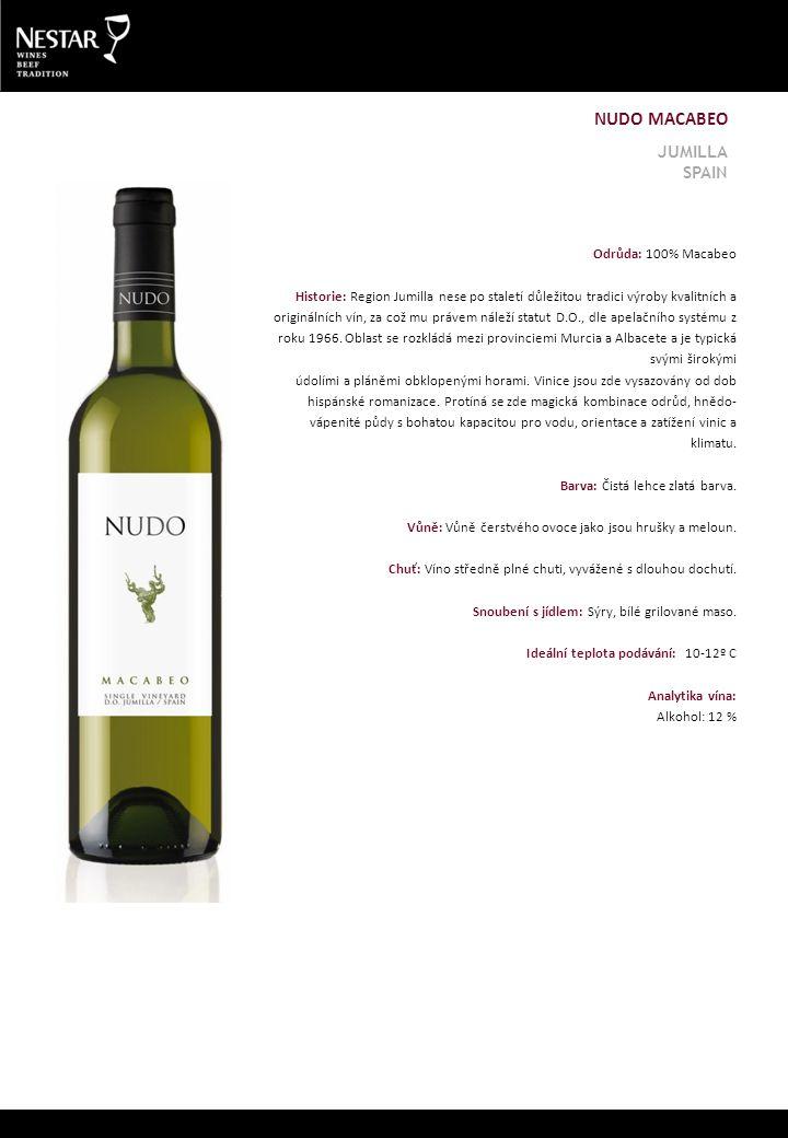 Odrůda: 100% Macabeo Historie: Region Jumilla nese po staletí důležitou tradici výroby kvalitních a originálních vín, za což mu právem náleží statut D.O., dle apelačního systému z roku 1966.