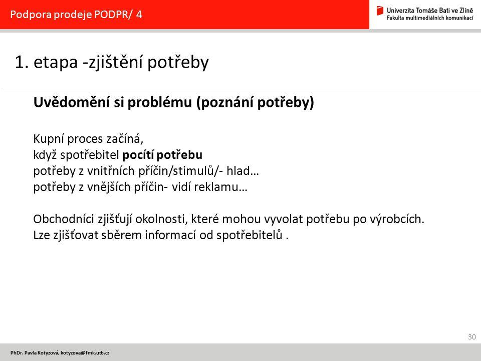 30 PhDr. Pavla Kotyzová, kotyzova@fmk.utb.cz 1. etapa -zjištění potřeby Podpora prodeje PODPR/ 4 Uvědomění si problému (poznání potřeby) Kupní proces