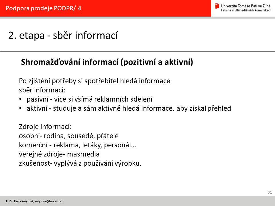31 PhDr. Pavla Kotyzová, kotyzova@fmk.utb.cz 2. etapa - sběr informací Podpora prodeje PODPR/ 4 Shromažďování informací (pozitivní a aktivní) Po zjišt