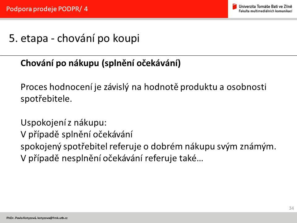 34 PhDr. Pavla Kotyzová, kotyzova@fmk.utb.cz 5. etapa - chování po koupi Podpora prodeje PODPR/ 4 Chování po nákupu (splnění očekávání) Proces hodnoce