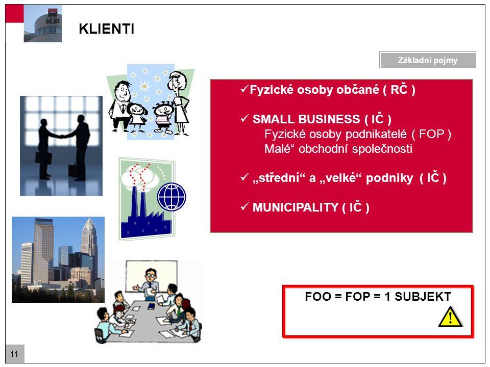 """11 FOO = FOP = 1 SUBJEKT KLIENTI Fyzické osoby občané ( RČ ) SMALL BUSINESS ( IČ ) Fyzické osoby podnikatelé ( FOP ) Malé obchodní společnosti """"střední a """"velké podniky ( IČ ) MUNICIPALITY ( IČ ) Základní pojmy"""