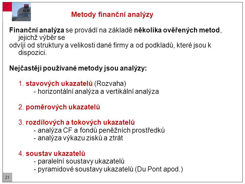 21 Finanční analýza se provádí na základě několika ověřených metod, jejichž výběr se odvíjí od struktury a velikosti dané firmy a od podkladů, které jsou k dispozici.