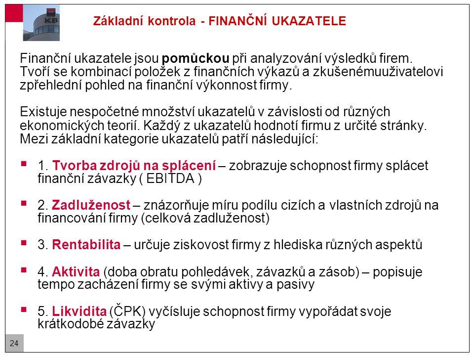 24 Základní kontrola - FINANČNÍ UKAZATELE Finanční ukazatele jsou pomůckou při analyzování výsledků firem.