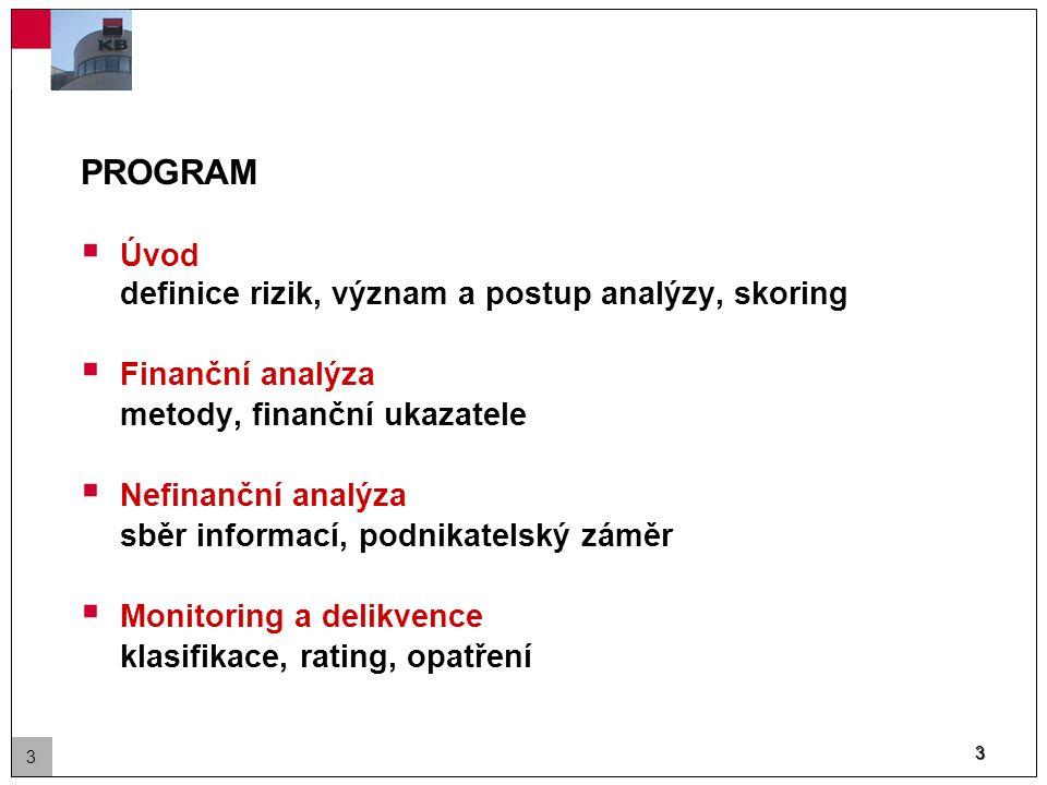 3 PROGRAM  Úvod definice rizik, význam a postup analýzy, skoring  Finanční analýza metody, finanční ukazatele  Nefinanční analýza sběr informací, podnikatelský záměr  Monitoring a delikvence klasifikace, rating, opatření 3