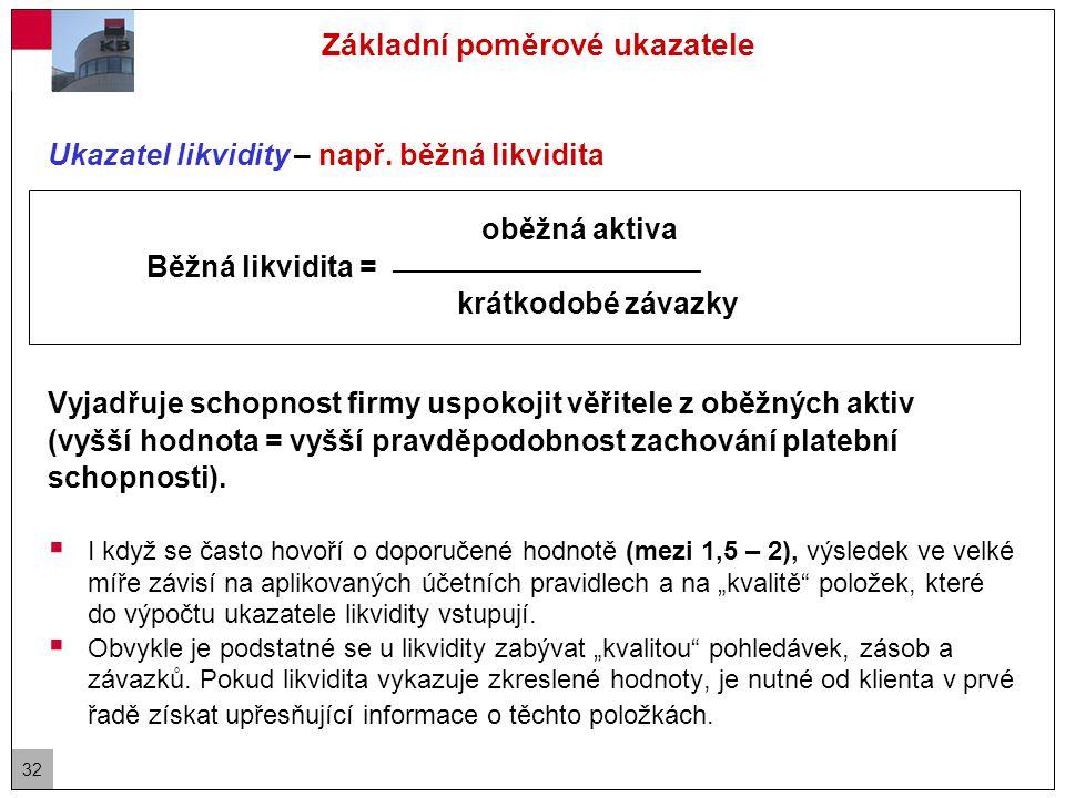 32 Základní poměrové ukazatele Ukazatel likvidity – např.